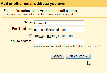 Adding E-mail Address