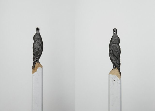 Bird pencil carvings