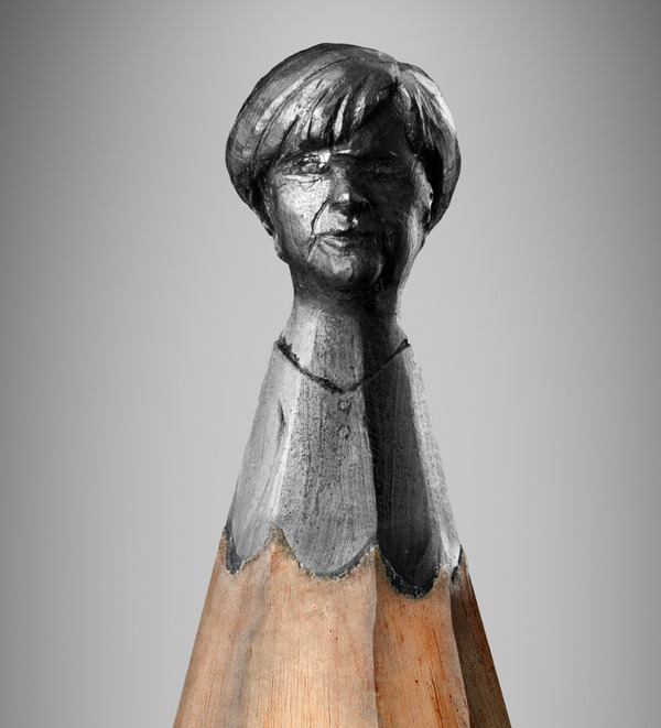 Pencil sculpture of Merkel